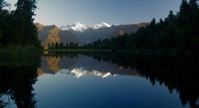 Mt. Cook & Mt. Tasman from Lake Matheson, New Zealand